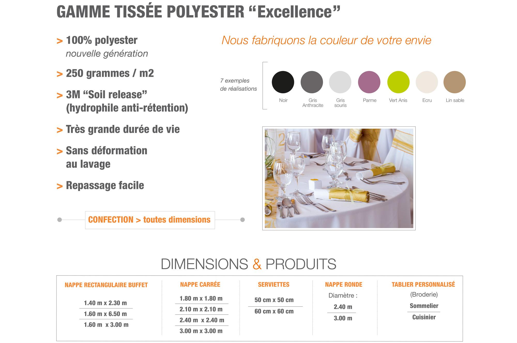 ATT nappes - Gamme  tissée polyester Excellence